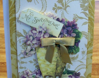 Handmade ROMANTIC CARD  Anna Griffin Design and Supplies  Vintage Look