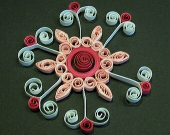 Handmade Quilling or Quilled Snowflake  Ornament  Package Topper  Card Embellishment  Scrapbook Embellishment