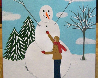 Original Folk Art Painting on Canvas in Acrylics Boy Putting the Final Touches on Snowman