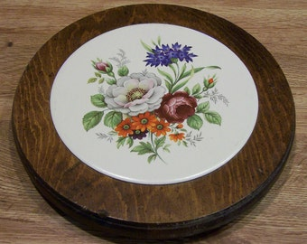 Vintage Trivet Made of Wood and Pottery with Floral Picture Roses