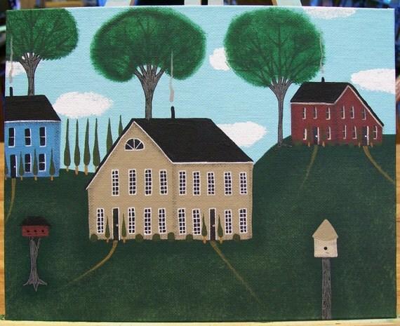 Original Folk Art Painting Saltbox Houses Birdhouses Trees Shrubs