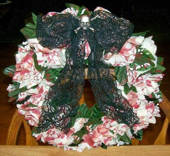 Handmade Wreath   Dexter Blood Splatter Wreath With Metal Skull & Crossbones