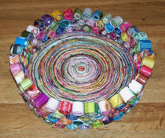 Handmade BOWL Made from Recycled Magazines Very Colorful  Upcycled