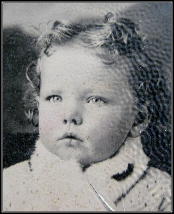Antique tintype photo SEMIRA sweet baby with curls DAMAGED