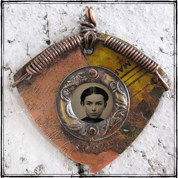 Original OOAK etched mixed metal pendant with tintype photo LONGING