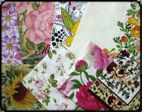 8 FLOWER art paper napkin sample set No 2 for your decoupage collage altered art projects
