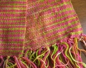 Bright pink and lime hand woven scarf
