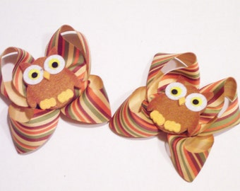 SALE Felt OWL Hair Bows Hairbows Clips Clippies Felties Fall Bird Bows Girls toddler Accessories Striped Ribbon