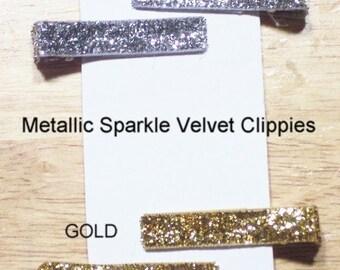 Sparkle Velvet SILVER Clippies Set of 2
