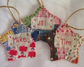 CHRISTMAS PERSONALIZED Star Starz Ornament - Stitched From Recycled Vintage Quilt Piece