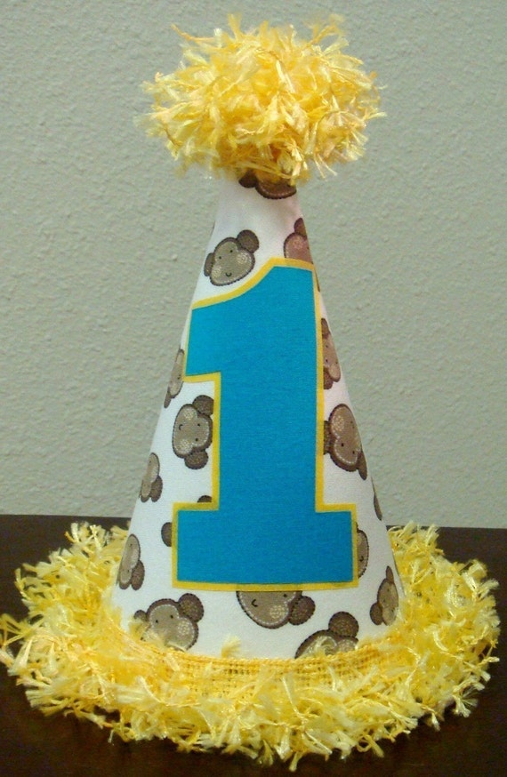 First Birthday Hat - Mod Monkey - Any number and other colors available