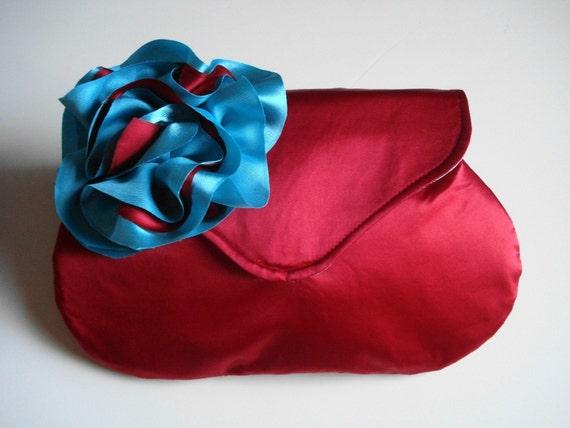 Bridesmaid Clutch, Red Satin Purse, Embellished Handbag, Evening Bag