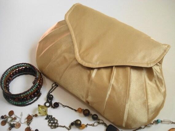 Gold Satin Clutch, Dressy Puse, Formal Occasion Handbag, Pleated Evening Bag