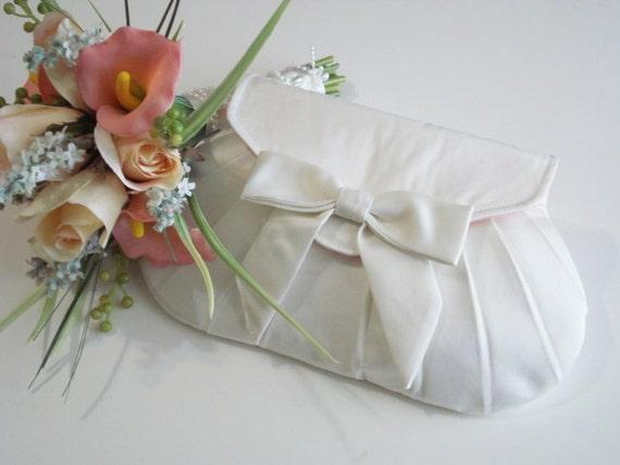Ivory Bridal Clutch, Wedding Purse, Satin Bow Clutch, Wedding Accessory, Small Handbag