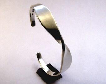 Sterling Cuff Bracelet, Tapered Twist