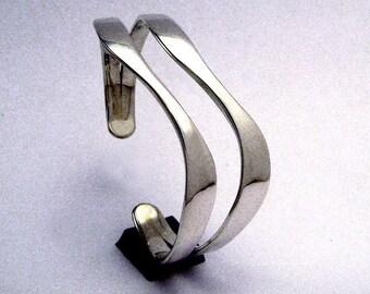 Sterling Silver Cuff, Twin Curve