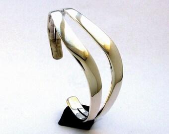 Twin S Curve Sterling Cuff Bracelet