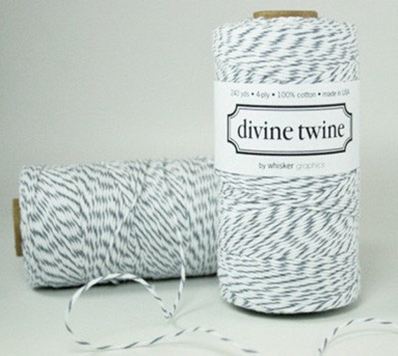 Oyster - Gray and White Bakers Twine - 240 yards (720 feet) - Divine Twine