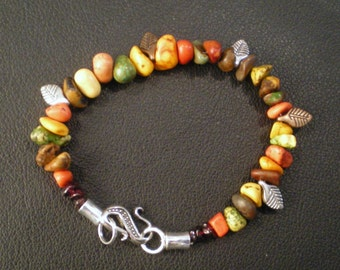 Autumn Howlite Braclet With Leaves
