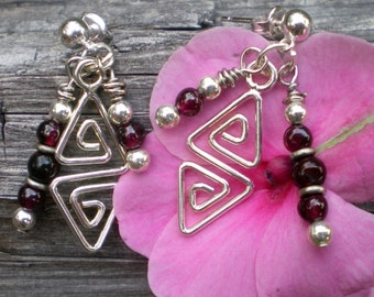 Garnet and Geometric Chandelier Earrings