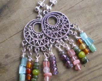 Rainbow Gemstone Chandelier Earrings