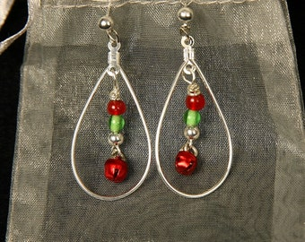 Christmas Hoop Dangle Earrings
