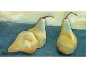 Giclee Archival Art Print, Limited Edition, Impressionistic Still Life, 10.6 x 20, titled Pears a Plenty