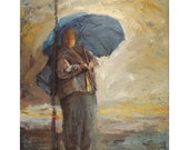 GIICLEE ARCHIVAL PRINT, limited edition, impressionistic art, 18 x 14, titled Woman in the Rain,  includes Certificate of Authenticity