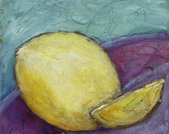 SALE Still life painting, Original painting on canvas, includes Certificate of Authenticity, 12 x 12, titled Lemon Ready