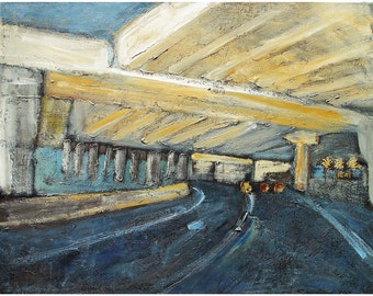Original painting on canvas, Contemporary landscape, freeway scene near San Francisco, 24 x 30, titled Emeryville Maze ,