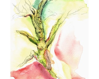 Running Tree, 8 x 10 Giclee print of origianl watercolor painting