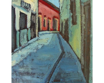 Archival giclee print, Mexican painting, San Miguel, Mexico, limited edition, print of painting,  6 x 8.3, titled Around the Bend