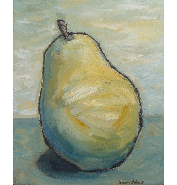 SALE - Waiting Pear 14 x 11, ORIGINAL PAINTING on canvas, abstract still life, includes Certificate of Authenticity