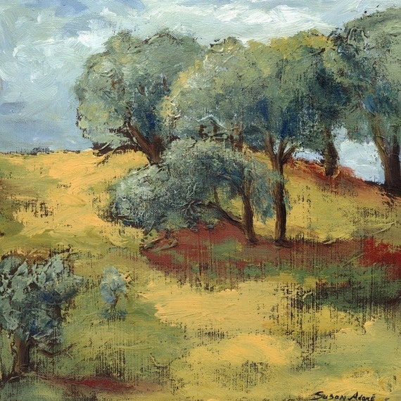 Giclee art print, limited edition, archival, California landscape, 15 x 15, titled Oak Trees in California