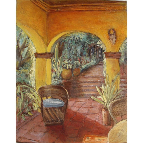 SALE Original painting on canvas, Mexican painting, contemporary impressionistic art, 24 x 18, titled Simple Pleasures,