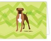 Boxer I Wuv You dog card (set of 10)