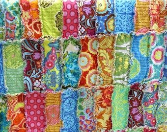 Amy Butler Quilt Baby Rag Quilt Reversible Crib Size Soul Blossom Made to Order