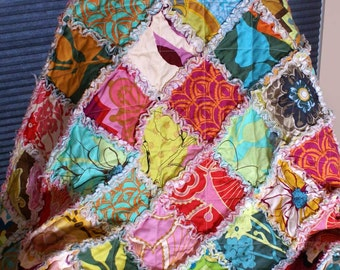 Rag Quilt Throw Anna Maria Horner Drawing Room Heavier Decorator Weight Made to Order