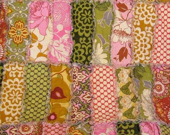 Amy Butler Lotus Quilt Baby Rag Crib Size Reversible Rectangle Strip Rag Quilt Made to Order