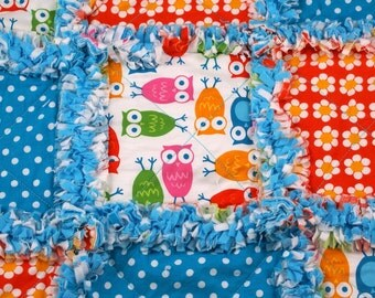 Owl Mini Baby Rag Quilt Lovey Ready to Ship
