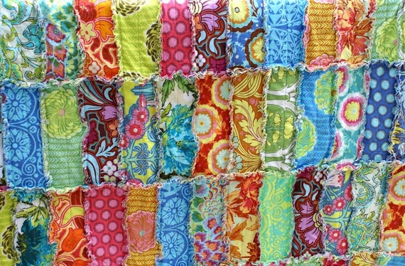 Soul Blossom Reversible Rag Strip Quilt Made to Order