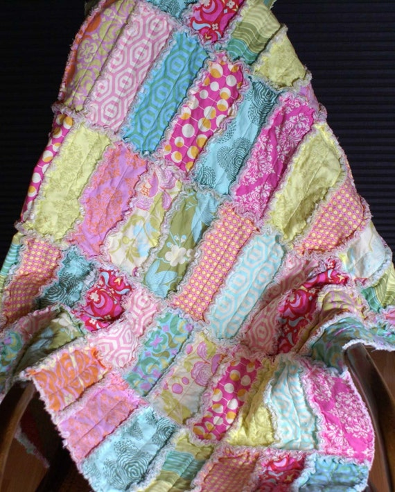 Amy Butler Rag Quilt Midwest Modern Print Reversible Baby Rag Strip Quilt Made to Order