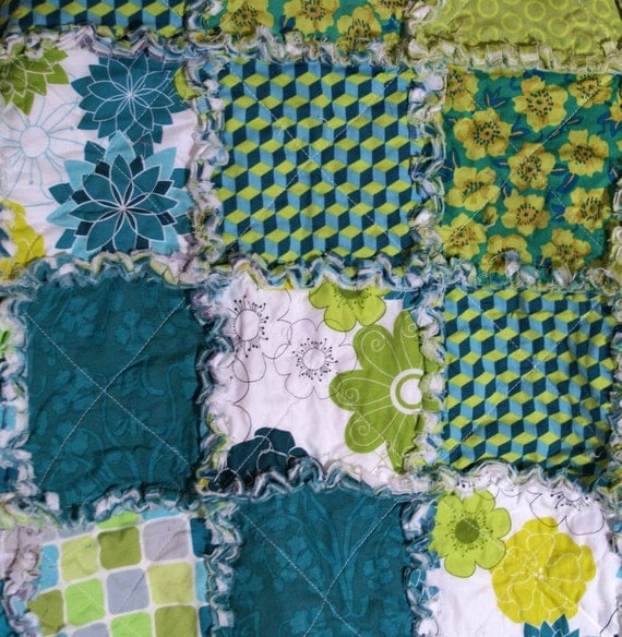 Patty Young Sanctuary Reversible Rag Quilt Ready to Ship