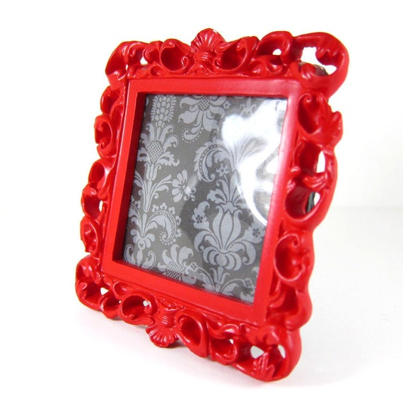 red vintage rococo style picture frame. Black Bedroom Furniture Sets. Home Design Ideas