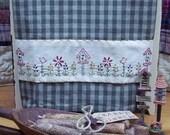 Birdhouse Flower Patch Towel Band PATTERN-Primitive Stitchery Pattern OR E-PATTERN