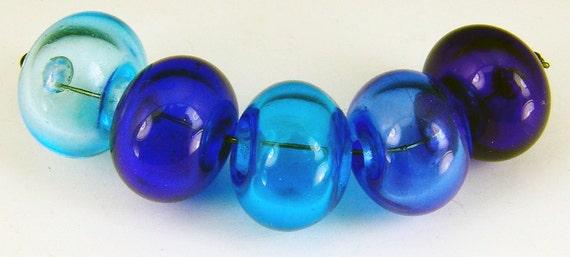 Lampwork bead set of 5 hollow beads, mixed blues