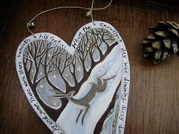 Snowlight Hare. Original Art On A Wooden Heart Hanger