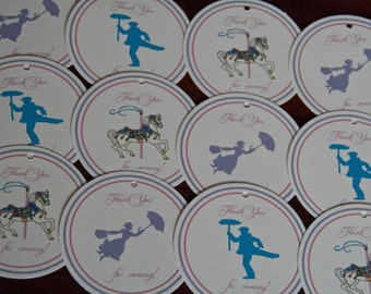 Jolly Holiday Favor Tags Mary Poppins Tea Party Birthday Favor Tags set of 12 by Belleza e Luce