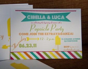 Popsicle Summer Invitation |  Birthday Party Invites | Carnival Summer Invitations Deposit