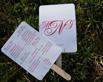 Paddle Fan Wedding Program Deposit